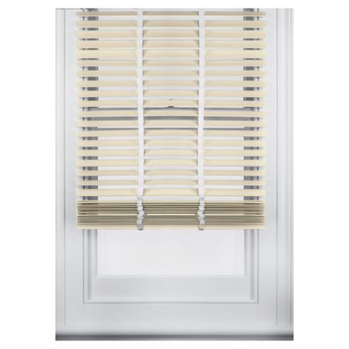 Sunflex Wood Venetian Blind W160 x Drop 152cm, 35mm Slats, Cream