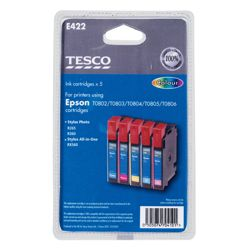 Tesco E422 Colour Printer Ink Cartridge Multipack (Compatible with printers using Epson T0802/T0803/T0804/T0805/T0806 Cartridges/ T0807 multipack )