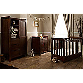 Obaby Lincoln Mini Cot Bed 3 Piece with Sprung Mattress Nursery Room Set - Walnut