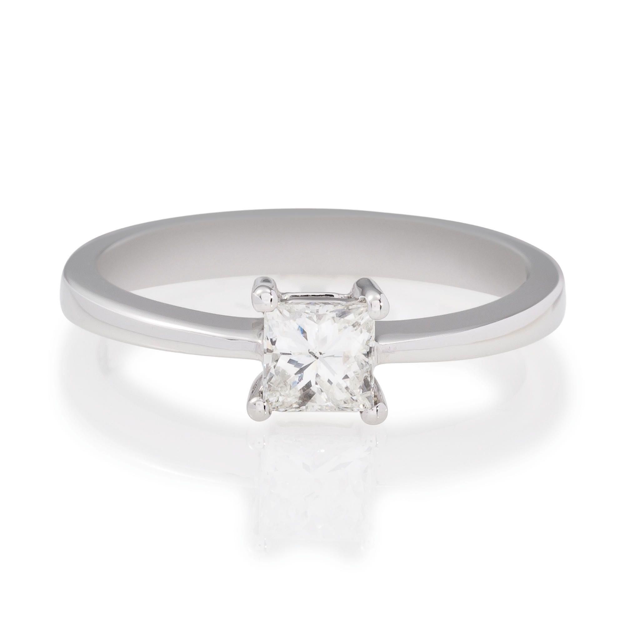 18ct White Gold 50Pt Princess Cut Diamond Ring, P at Tesco Direct