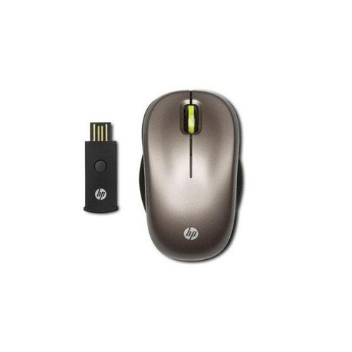 HP WX413AA Mouse - Optical - Wireless - 2 Button(s) - Black - Radio Frequency - Scroll Wheel - Symmetrical
