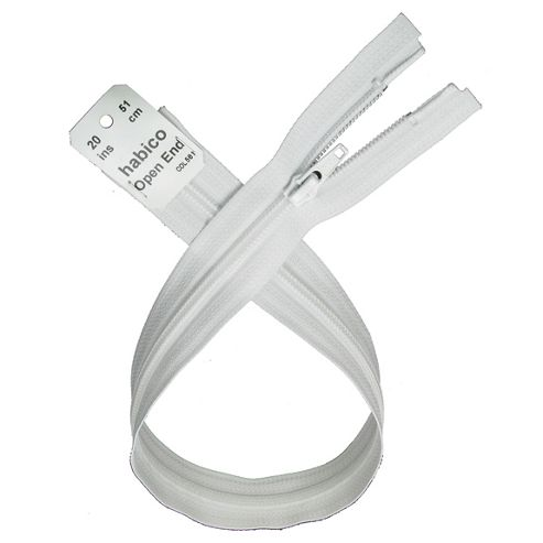 Open End Zip - 51cm - White