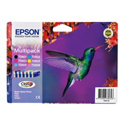 Epson T0807 Multi Colour Printer Ink Cartridge Multipack (Contains T0801, T0802, T0803, T0804, T0805, T0806 cartridges)