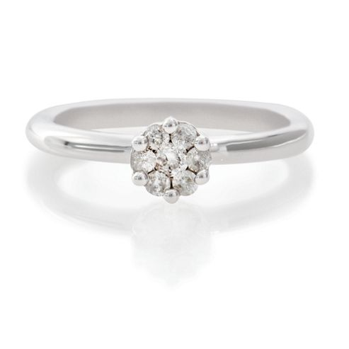 9ct White Gold 25Pt Diamond Invisible Set Ring, P