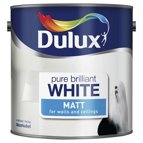 Dulux Matt Emulsion Paint, Pure Brilliant White, 2.5L