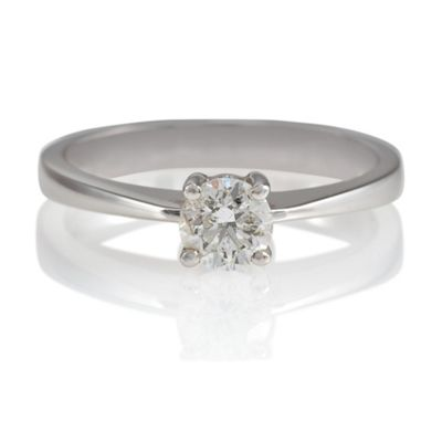 18ct White Gold 1/2ct Diamond Solitaire Ring, N