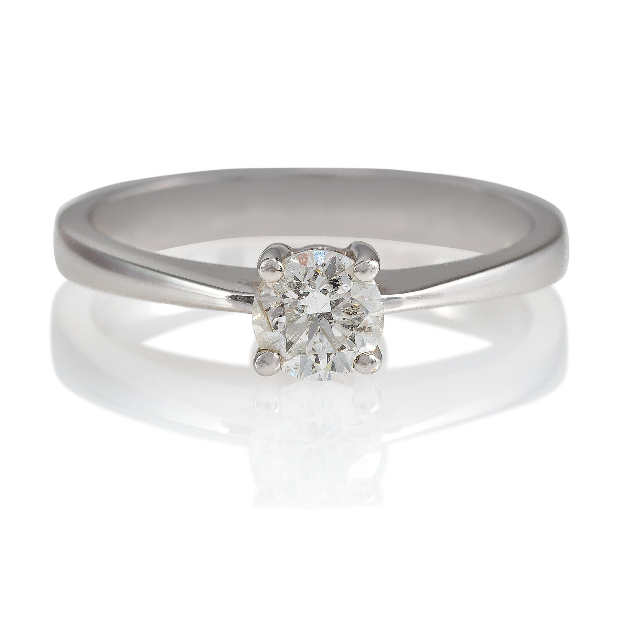 18ct White Gold 1/2ct Diamond Solitaire Ring, N at Tesco Direct