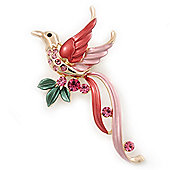 Exotic Deep Pink Diamante 'Bird' Brooch In Gold Finish - 6.5cm Length