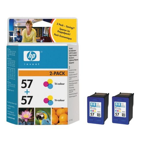 HP 57 Printer Ink Cartridge Twin Pack - Tri-colour (C9503AE)