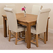 Cotswold Rustic Solid Oak Extending 132 - 198 cm Dining Table with 4 Ivory Washington Leather Chairs