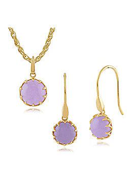Gemondo Lavender Jade 'Calo' Pastel Gold Plated Silver Drop Earring & 45cm Necklace Set