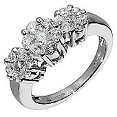 9ct White Gold 1ct Diamond Invisible Set Ring, L