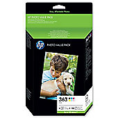 HP 363 Series 6 Ink Cartridges + 150 Sheets HP Photo Paper (10x15cm) - (Q7966EE)