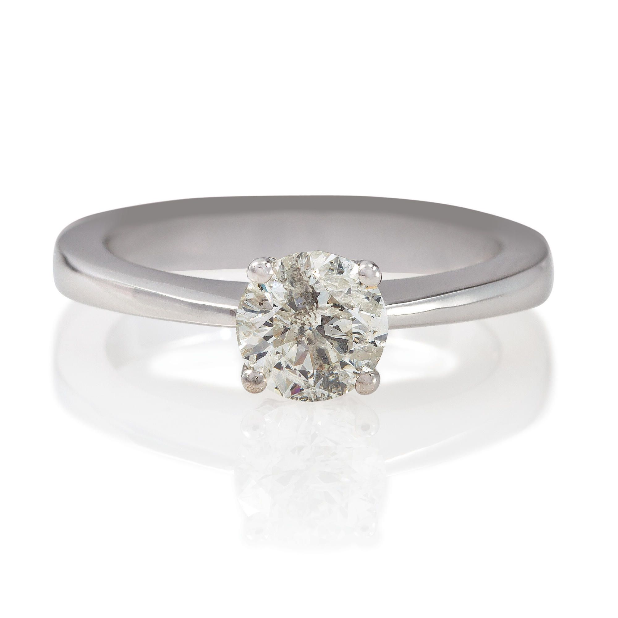 18ct White Gold 1ct Diamond Solitaire Ring, N at Tesco Direct