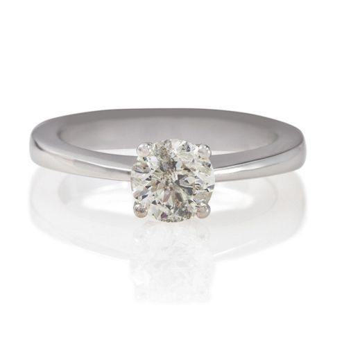 18ct White Gold 1ct Diamond Solitaire Ring, N