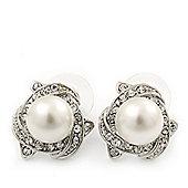 Classic Diamante Faux Pearl Stud Earrings In Rhodium Plating - 18mm Diameter