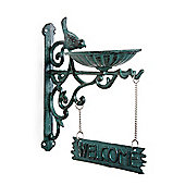 Verdigris Cast Iron Bracket 'Welcome' Sign with Bird Feeder
