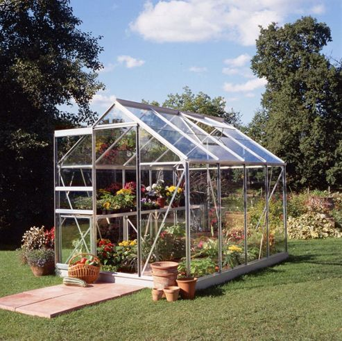 Halls 8x6 Popular Aluminium Greenhouse + Base - Horticultural Glass