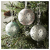 Snowflake Baubles, Silver, 4 Pack