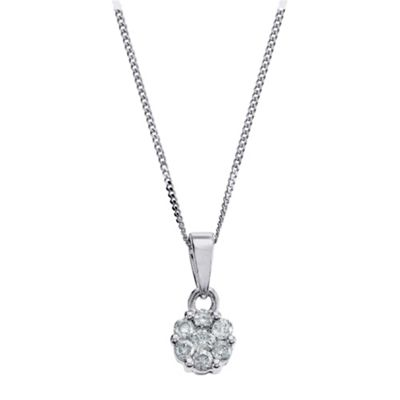 9ct White Gold 1/4ct Diamond Invisible Set Pendant