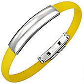 Urban Male Men's Stainless Steel & Yellow Rubber ID Bangle