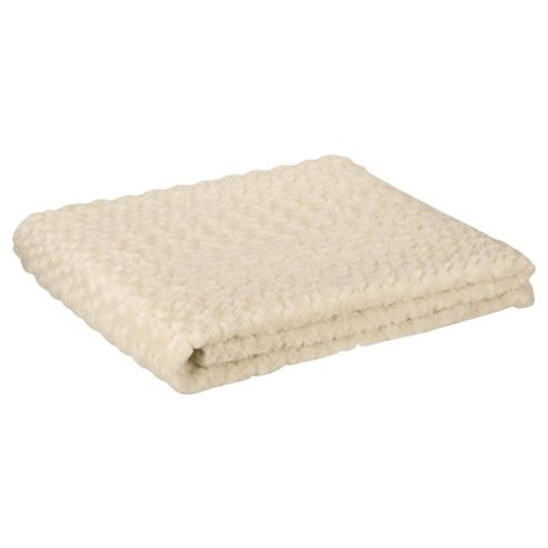 F&F Home Rose Faux Fur Throw 150X170Cm- Cream