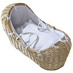 Isabella Alicia Natural Izzy-Pod Moses Basket (Broderie Anglais White)