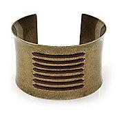 Vintage Burnished Gold 'Lace' Cuff Bracelet - 4.5cm Width/ 20cm Length