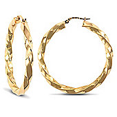 Jewelco London 9ct Yellow Gold polished Twisted hoop Earrings