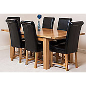 Seattle Solid Oak Extending 150 - 210 cm Dining Table with 6 Black Washington Leather Chairs