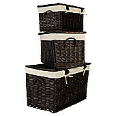 Wicker Lidded Baskets, Chocolate Brown 3 Pack
