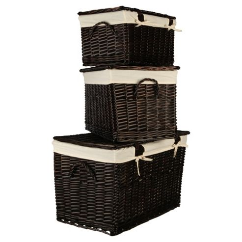 Wicker Lidded Baskets, Chocolate Brown 3 Pack