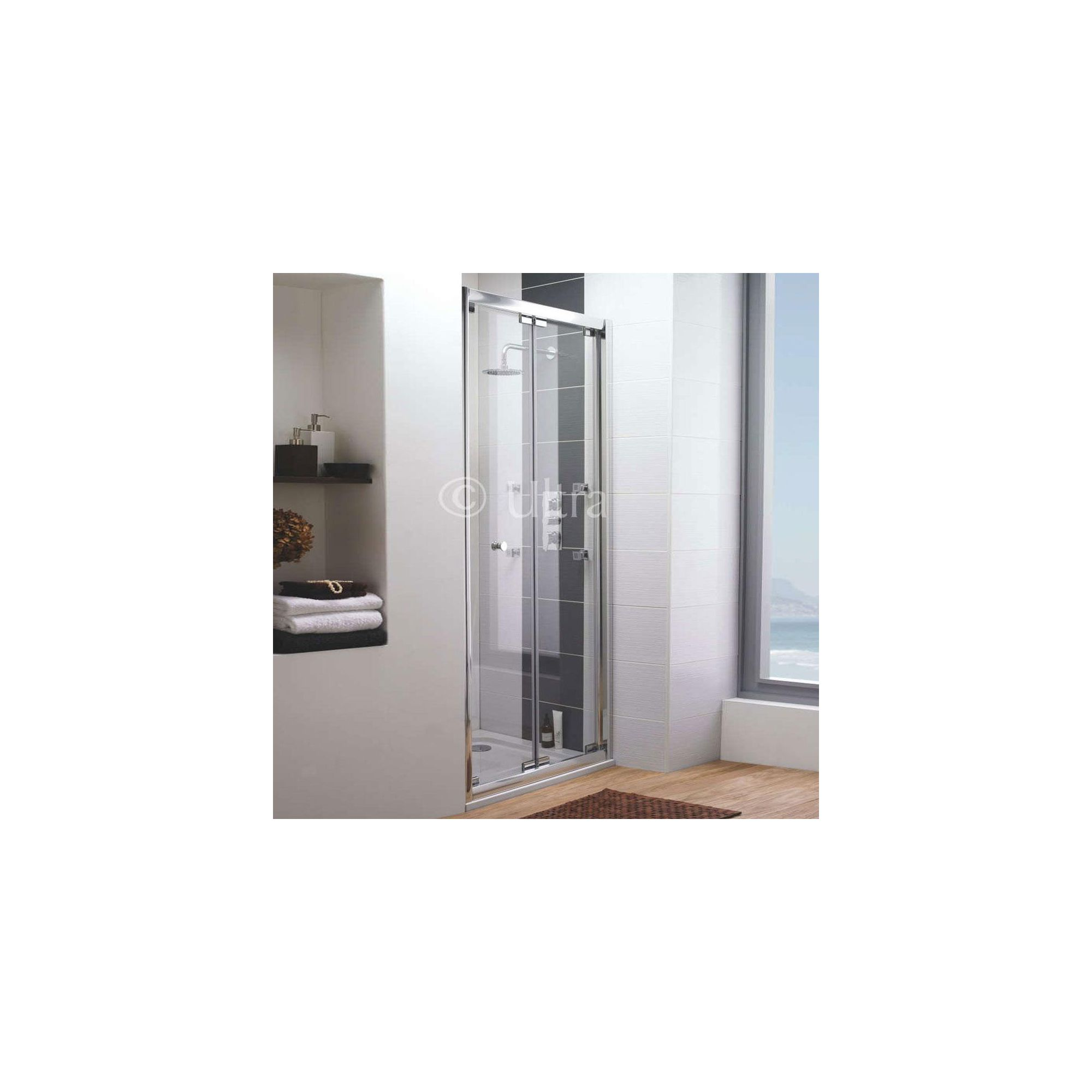 Ultra Roma Frameless Bi-Fold Shower Door, 1000mm Wide, 6mm Glass at Tesco Direct