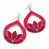 Pink Enamel Teardrop Hoop Earrings In Silver Finish - 8cm Length