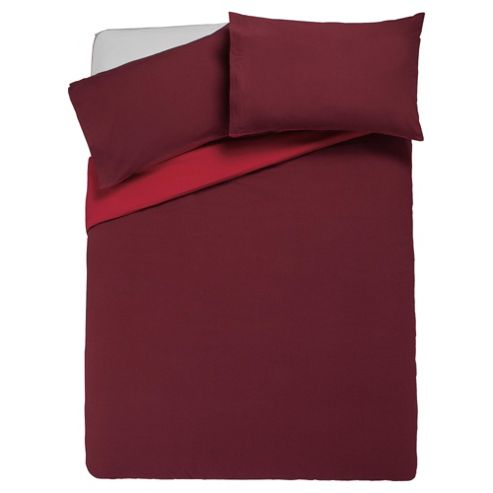 Tesco Reversible Duvet Cover Set Double, Red & Dark Red