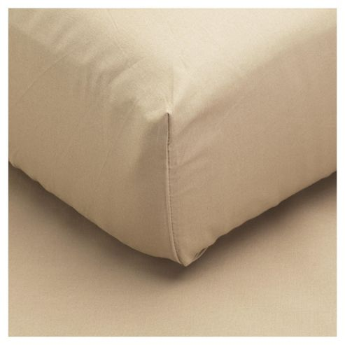 Tesco 100% Cotton Single Fitted Sheet, Cappuccino