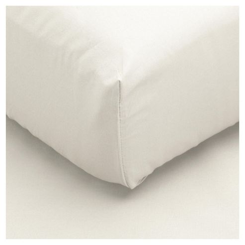Tesco 100% Cotton Double Fitted Sheet, White