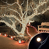 100 Connectable Warm White LED Globe Lights on Rubber Cable