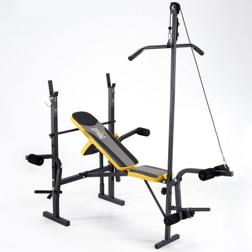 buy everlast starter weight bench with lat pulldown