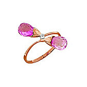 QP Jewellers Diamond & Pink Topaz Duo Briolette Ring in 14K Rose Gold