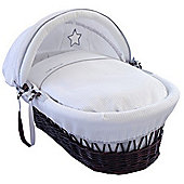 Clair de Lune Dark Wicker Moses Basket (Silver Lining)