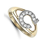 Jewelco London 9ct Gold Ladies' Identity ID Initial CZ Ring, Letter C - Size L