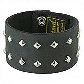 Mustard Men's Studded Real Leather Distressed Black Cuff Bracelet 40mm