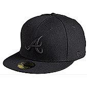 New Era Cap Co Black on Black Atlanta Braves New Era Cap - Black Size: 7 1/8 inch