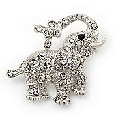 Small Rhodium Plated Pave Set 'Happy Elephant' Brooch - 37mm Across