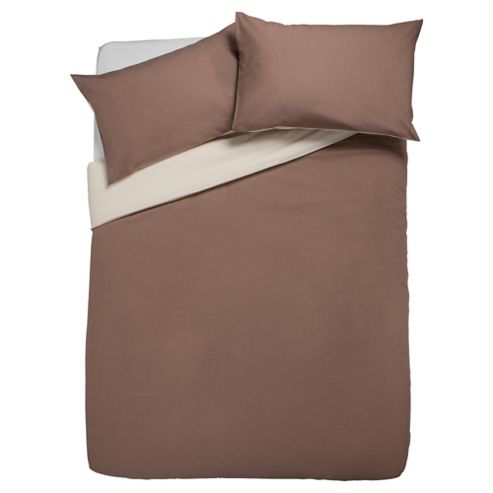 Tesco Reversible Duvet Set King, Light & Dark Natural