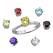 Sterling Silver with 9ct Gold Overlay Cubic Zirconia Rainbow Ring