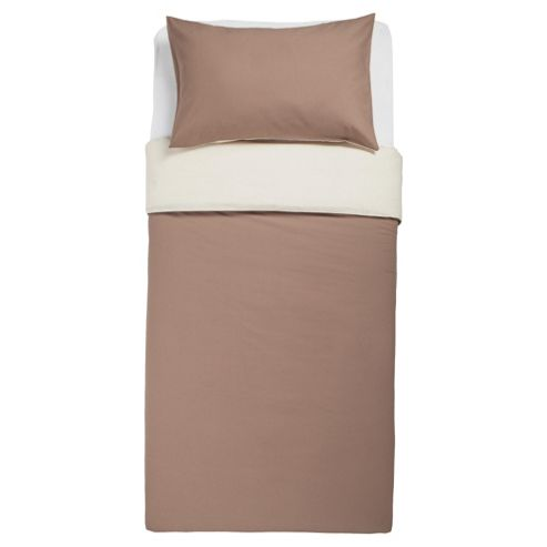 Tesco Reversible Single Duvet Set, Light & Dark Natural