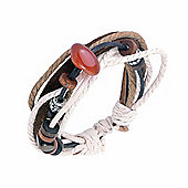 Urban Male Brown Leather & Cotton Cord Surfer Style Bead Bracelet