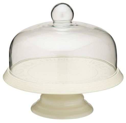 KitchenCraft Classic Ceramic Cake Stand with Glass Dome